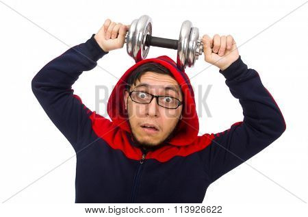 Young man with dumbbells isolated on white