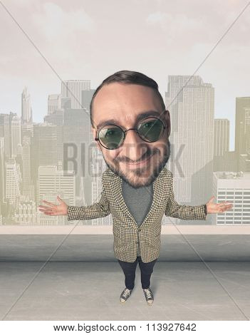 Funny guy with big head, cityscape background