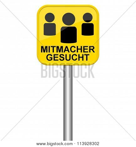 Yellow Sign Showing People To Participate In German Language