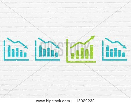 Finance concept: growth graph icon on wall background