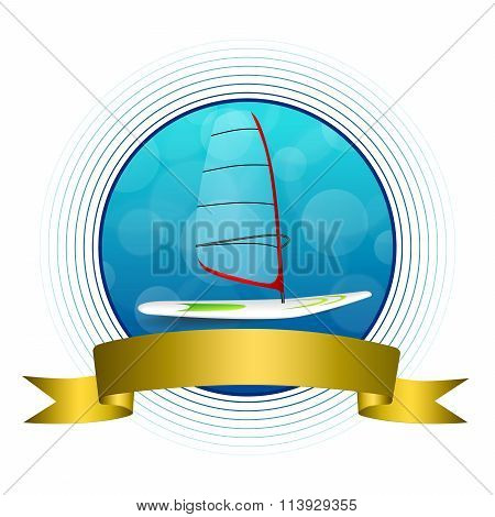 Background abstract sea sport holidays design red green windsurfing blue circle gold ribbon frame