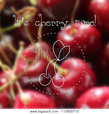 Contour drawing of cherry berries on a blurred background. Vector EPS10 illustration.