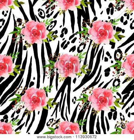 Abstract Animal Seamless Pattern With Flowers Drawing Watercolor.