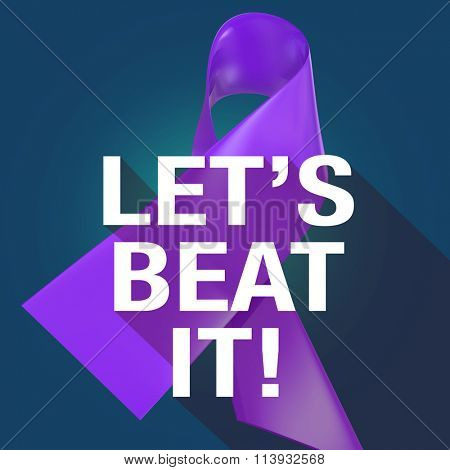 Let's Beat It Words on a violet or purple ribbon symbolizing Alzheimers or cancer awareness and fundraising campaign, in long shadow symbol