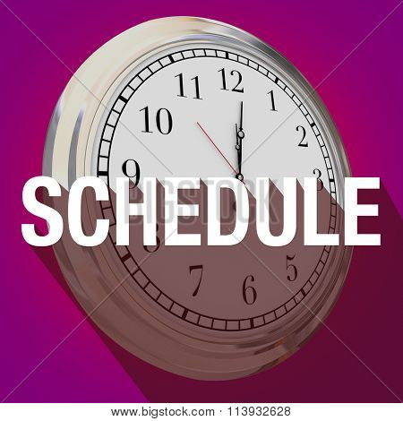 Schedule word with long shadow over a clock to illustrate time or reminder for an important meeting or appointment