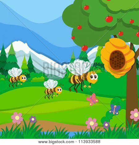 Bees flying around the beehive in the park illustration
