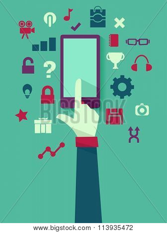Flat Illustration of a Mobile Phone Surrounded by App Icons