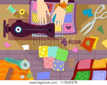 Illustration of a Person Sewing a Colorful Quilt