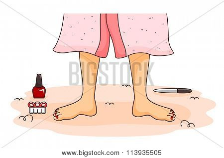 Illustration of a Woman About to Get a Pedicure at a Spa