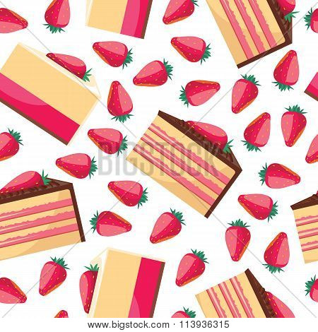 Seamless background with a pattern of delicious strawberry cupcake