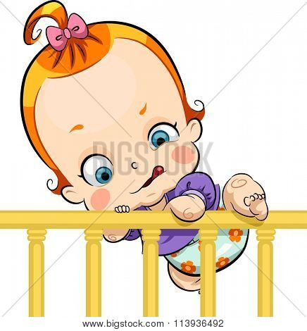 Illustration of a Cute Baby Trying to Escape a Crib