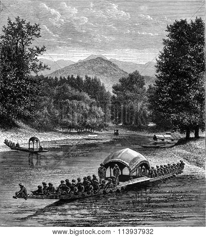 The Barque of the King of Kashmir, vintage engraved illustration. Magasin Pittoresque 1880.