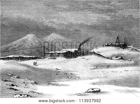 Former Pic du Midi Observatory, vintage engraved illustration. Magasin Pittoresque 1880.
