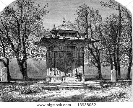 The Fountain of Freshwater in Asia, vintage engraved illustration. Magasin Pittoresque 1880.