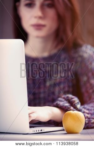 Woman Woking With Notebook