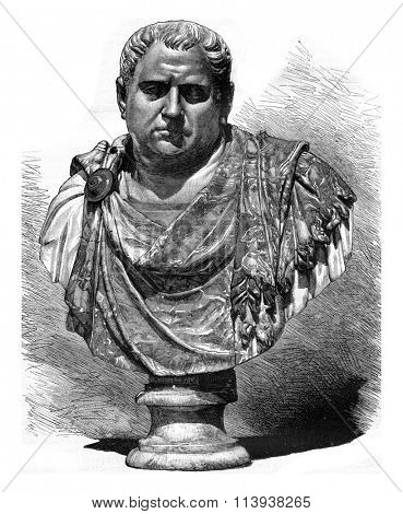 Vitellius bust in red porphyry work of the sixteenth century, vintage engraved illustration. Magasin Pittoresque 1880.