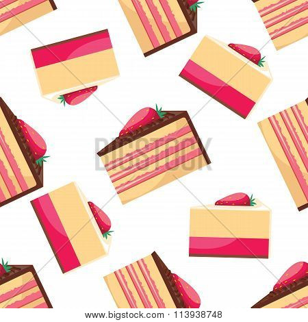 Seamless background with  pattern of delicious strawberry cupcake