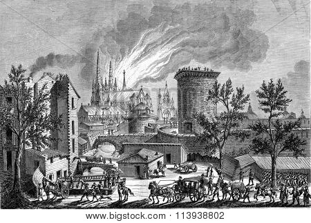 Fire at St. Andrew's Cathedral in Bordeaux, August 25, 1787, vintage engraved illustration. Magasin Pittoresque 1880.