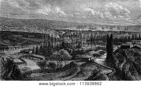 Chile, General view of Valparaiso, vintage engraved illustration. Magasin Pittoresque 1880.