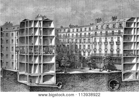 Model of the installment of a Paris boulevard, with its sewers and water pipes and gas, vintage engraved illustration. Magasin Pittoresque 1880.