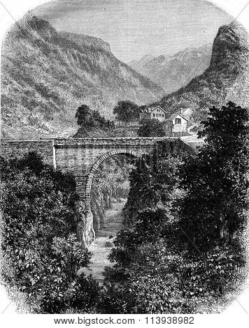 The Hell Bridge, near the Hot Springs and the hamlet of Goust, Lower Pyrenees, vintage engraved illustration. Magasin Pittoresque 1878.