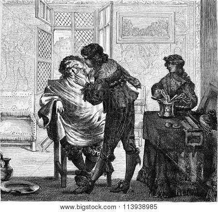 A Barber shop seventeenth century, vintage engraved illustration. Magasin Pittoresque 1878.