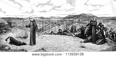 Saint Francis of Assisi and the wolf Gubbio, vintage engraved illustration. Magasin Pittoresque 1878.