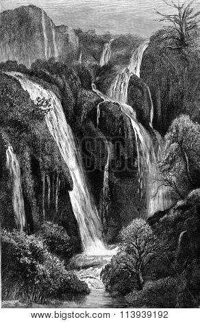 Cascades Tifrit Wadi, Algeria, vintage engraved illustration. Magasin Pittoresque 1878.