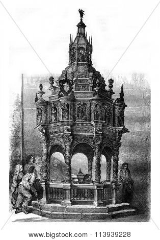 Oak baptistery of the church of Guimiliau, Finistere, vintage engraved illustration. Magasin Pittoresque 1878.