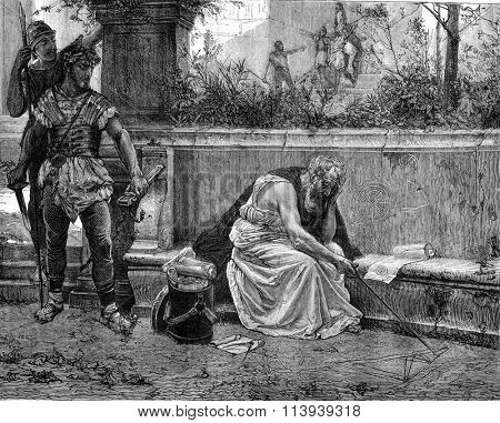 The Death of Archimedes, vintage engraved illustration. Magasin Pittoresque 1877.