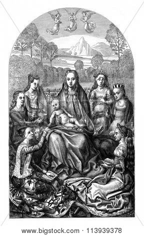 The Marriage of Saint Catherine, painting by Hans Memling, vintage engraved illustration. Magasin Pittoresque 1877.