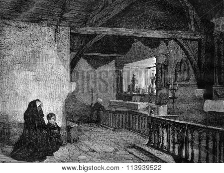 Luxembourg Museum in Paris, Trinity Chapel in Plouha, vintage engraved illustration. Magasin Pittoresque 1876.