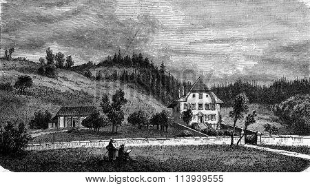 The Presbytery of Jeremias Gotthelf in Lutzelfluh, vintage engraved illustration. Magasin Pittoresque 1876.