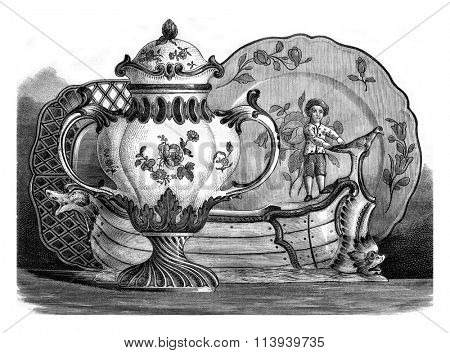 Hannong earthenware made in Strasbourg and Haguenau, Ceramic Museum of Sevres, vintage engraved illustration. Magasin Pittoresque 1876.