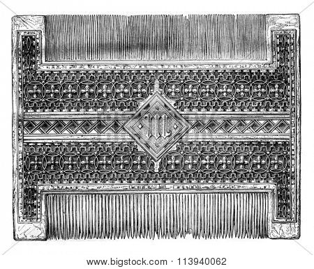 Comb of Mary of Burgundy, daughter of Charles the Bold, vintage engraved illustration. Magasin Pittoresque 1876.