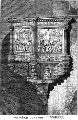 Pulpit of the church of Santa Croce in Florence by Benedetto da Maiano, vintage engraved illustration. Magasin Pittoresque 1876.
