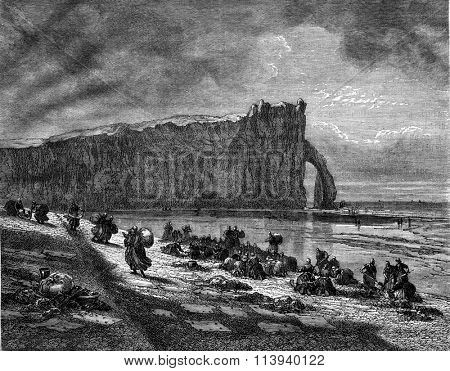 The Clothes Washers Etretat, vintage engraved illustration. Magasin Pittoresque 1876.