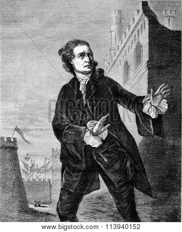 Garrick in Hamlet, vintage engraved illustration. Magasin Pittoresque 1873.