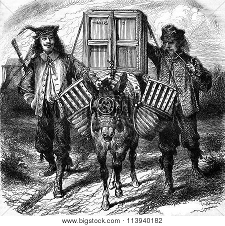 Teniers father and son going to the market, vintage engraved illustration. Magasin Pittoresque 1876.