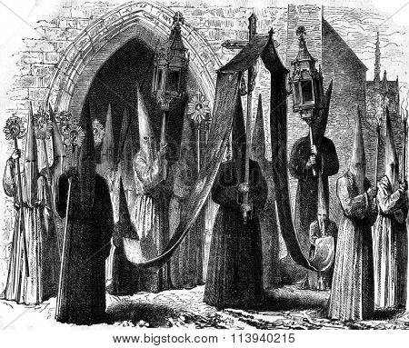 Penitents of Limoges, costume exposed in 1874 in the Historical Museum of the costume, vintage engraved illustration. Magasin Pittoresque 1876.