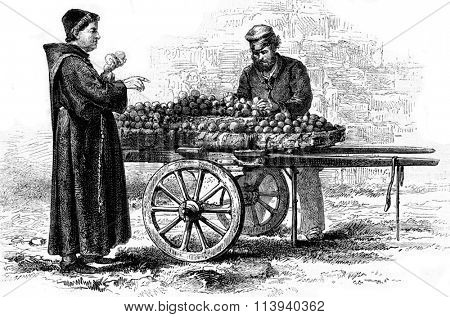 The monk with oranges, vintage engraved illustration. Magasin Pittoresque 1873.