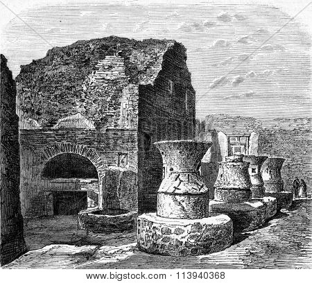 A Bakery in Pompeii, vintage engraved illustration. Magasin Pittoresque 1873.