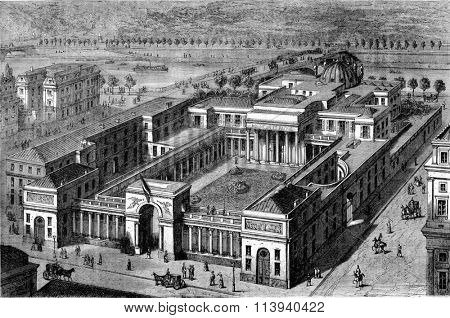 View in a straight line from the Palace of Legion of Honor restored, vintage engraved illustration. Magasin Pittoresque 1873.