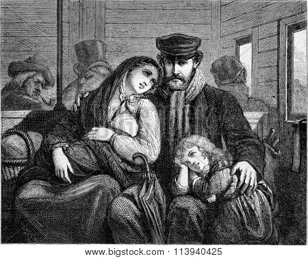 Emigrants, The departure, vintage engraved illustration. Magasin Pittoresque 1873.