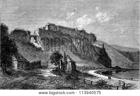 View of Bouillon Castle, vintage engraved illustration. Magasin Pittoresque 1873.
