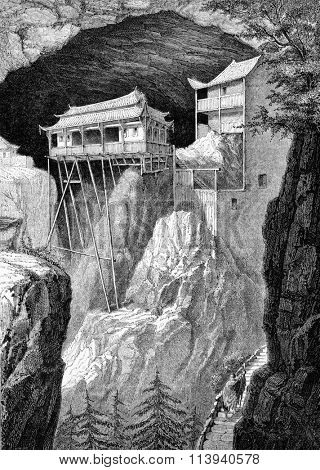 The temple of Fang-Kwan-Yuan, vintage engraved illustration. Magasin Pittoresque 1873.