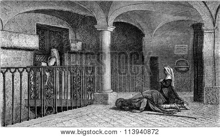 1870 Exhibition of Painting, Pilgrims in front of the chapel of San Pietro in Carcere, ancient Mamertine prison in Rome, vintage engraved illustration. Magasin Pittoresque 1870.