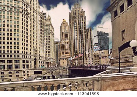 Downtown Chicago With Tribune Building At Blue Sky