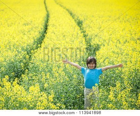 Kid on land agricultural field