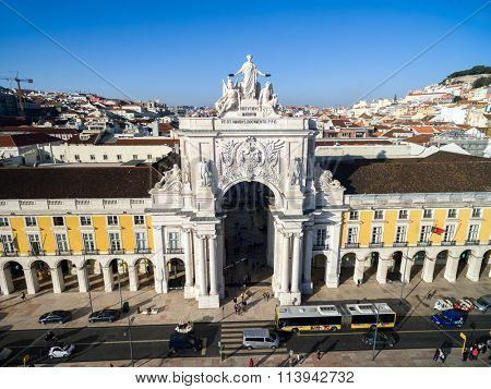 LISBON, PORTUGAL - CIRCA DECEMBER 2015: Top View of Augusta Arch in Lisbon, Portugal